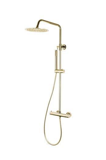 Natryskowa kolumna prysznicowa Corsan Lugo CMN029 złota z termostatem