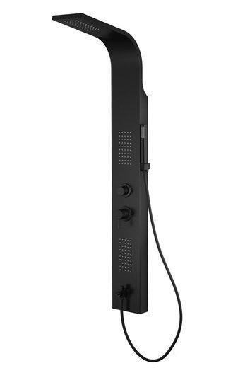 Panel prysznicowy Corsan Alto A017 czarny z czarnym wykończeniem i wylewką